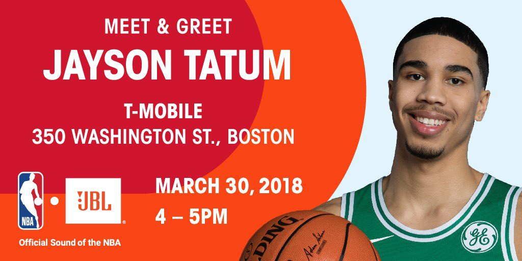 Can't wait to meet the Celtics fans today! I'll be with @JBLaudio at the T-Mobile store on Washington St. from 4-5 PM #AD #JBLxNBA