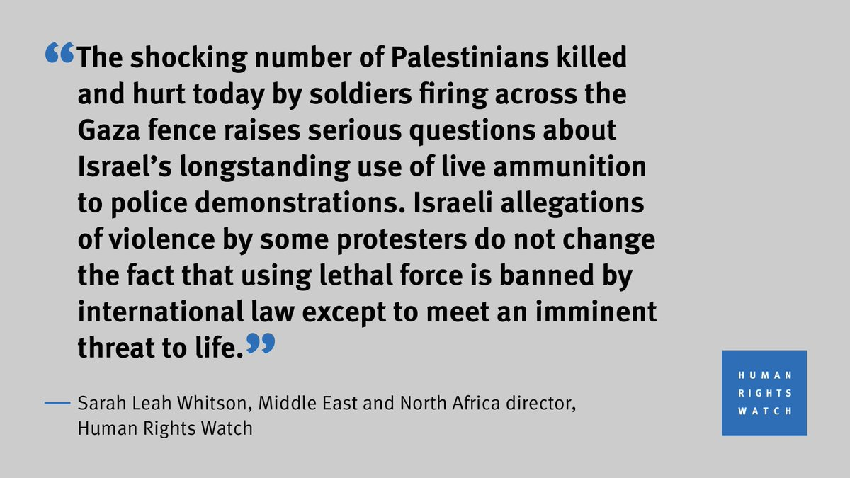 The number of Palestinians killed and gravely wounded by Israel's soldiers firing into #Gaza is shocking. @hrw statement