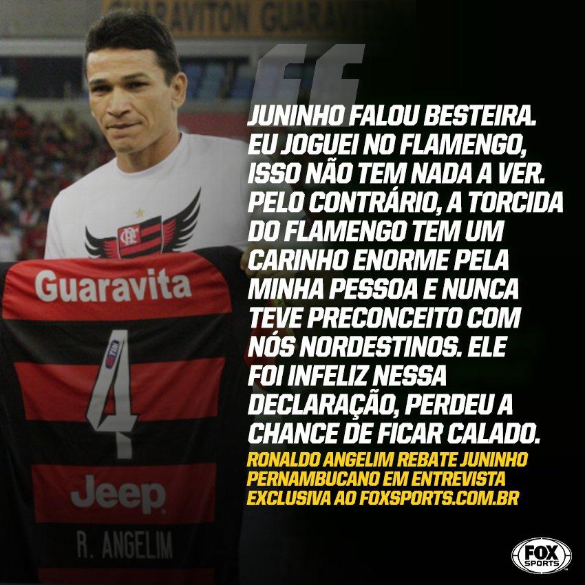 Após Juninho Pernambucano acusar o @Flamengo e a torcida rubro-negra de xenofobia com o lateral Renê, o cearense Ronaldo Angelim deu essa resposta...