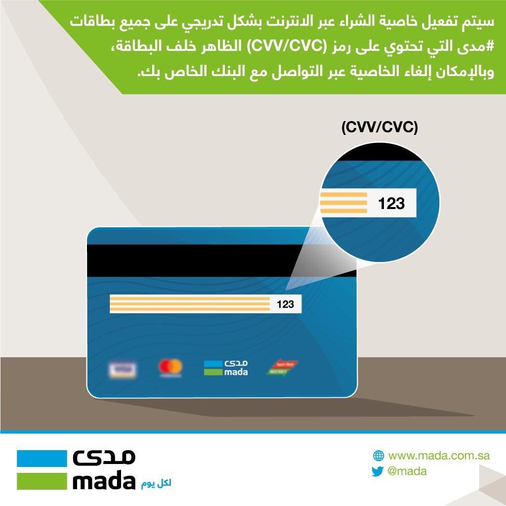 فهد البقمي Ar Twitter رسميا بطاقات مدى التي تحمل رمز Cvv وهي الثلاث أرقام الموجودة بخلف البطاقة بدأت اليوم بتفعيل خاصية الشراء من الإنترنت تدريجيا ويستطيع حاملها الشراء بإستخدامها بكل سهولة كذلك