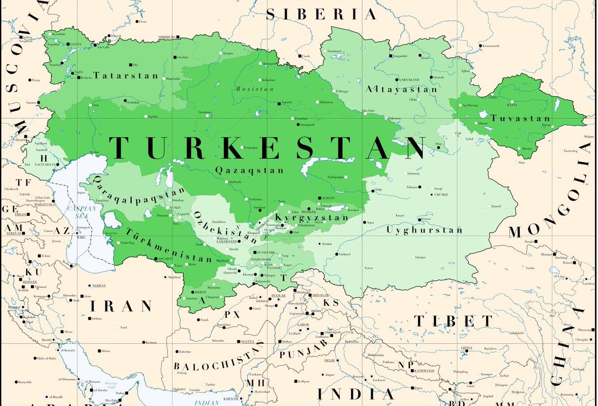 "Central Asian Beauty on Twitter: ""Turkestan included present day  Turkmenistan, Tajikistan, Kazakhstan, Uzbekistan, Kyrgyzstan, Xianjiang  (aka East Turkestan), Afghanistan, and Russia (Tatarstan & parts of  Siberia)… https://t.co/WnePqk7ikC"""