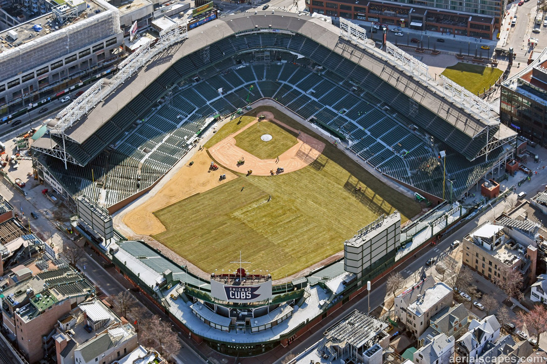 """Wrigley Aerials on Twitter: """"Grass mostly in at Wrigley ..."""