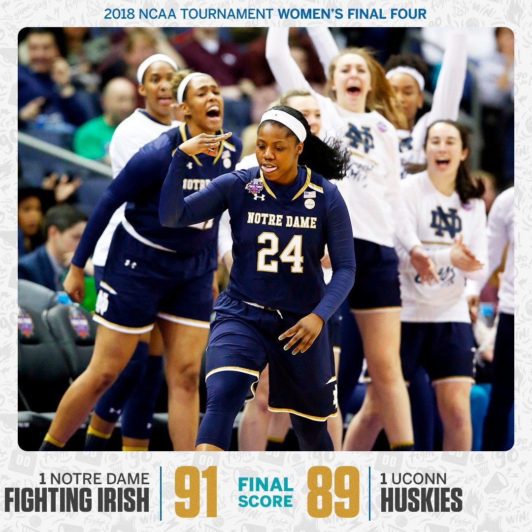 UNDEFEATED NO MORE!  Notre Dame hands UConn its first loss of the season to advance to the national championship.