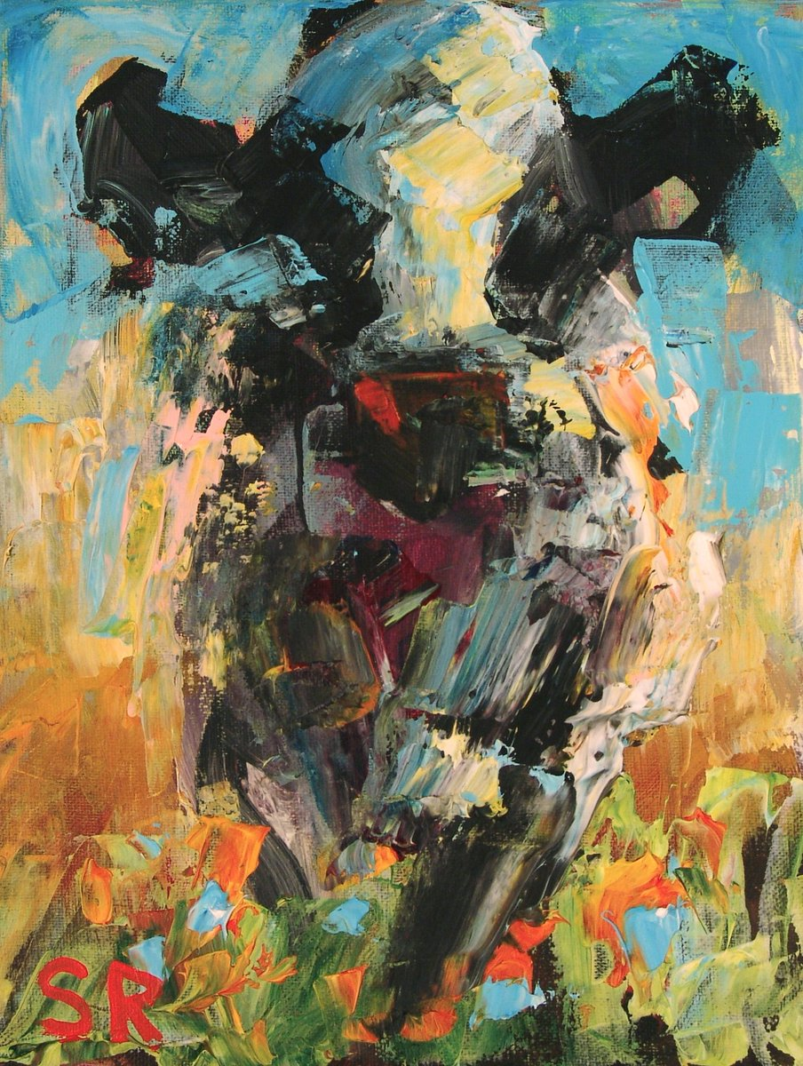 Sam Raines On Twitter Original Colorful Cow Painting On Canvas