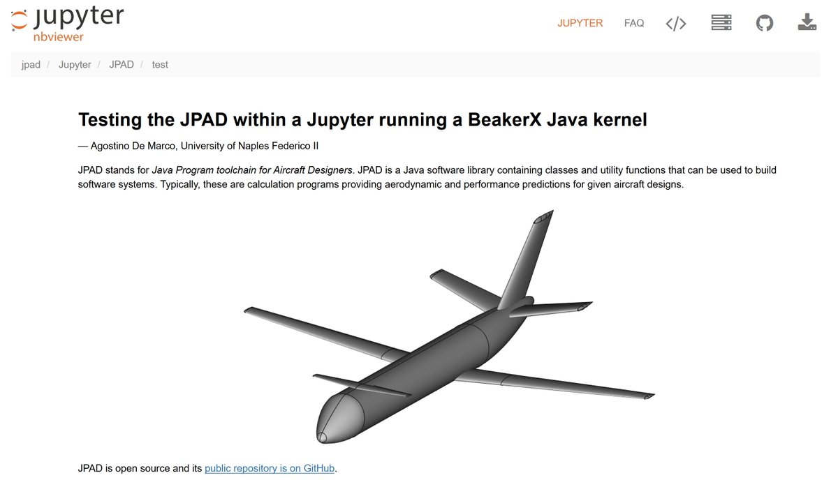 Agostino De Marco On Twitter Jpad A Java Software Library For Aircraft Design First Successful Test In A Beakerxnotebook Great Possibilities Of Scientific Software Documentation Thanks To Projectjupyter Https T Co Acxfc5dvnb Https T Co