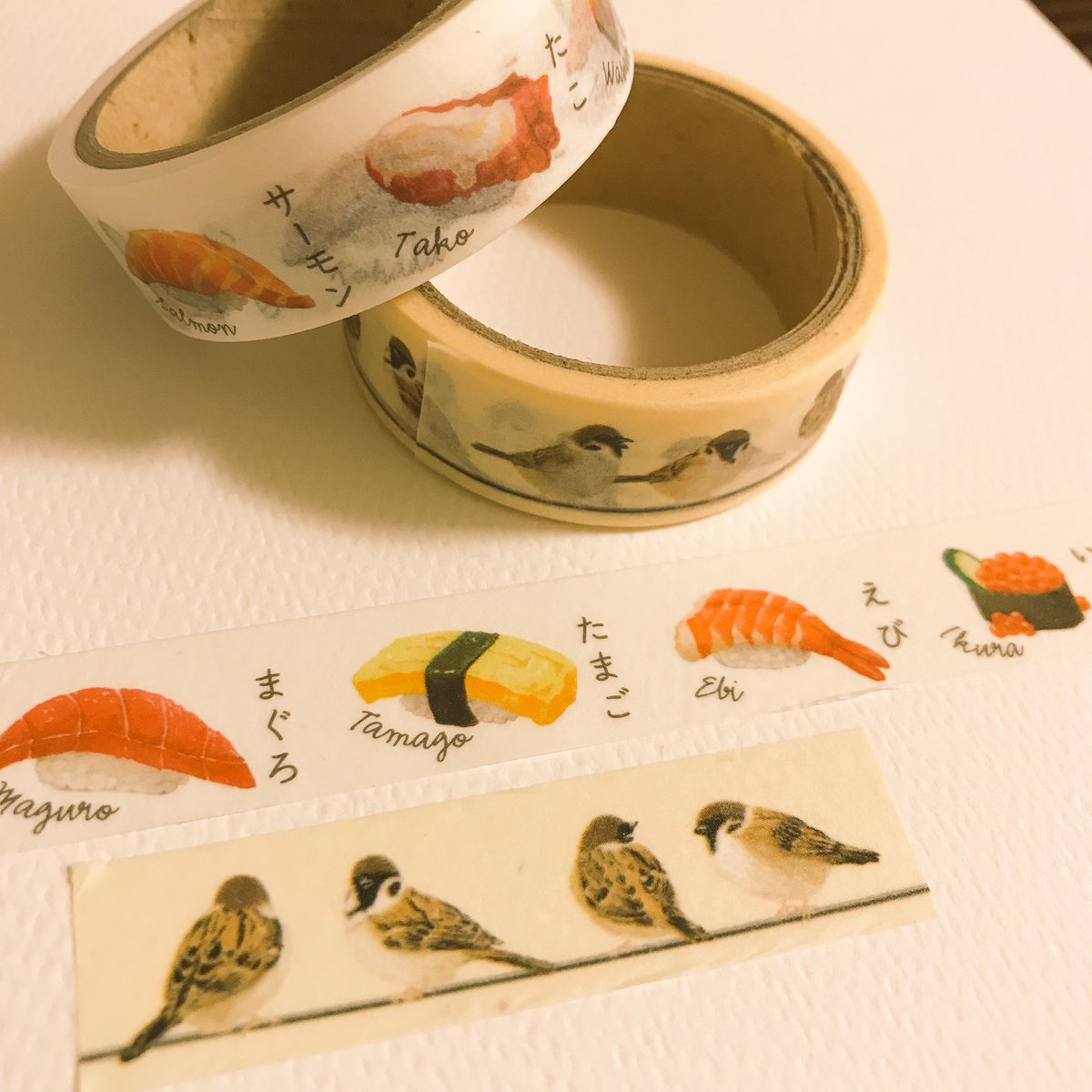 test ツイッターメディア - キャンドゥの すずめとお寿司 マスキングテープ  かわいい(°д°)   #キャンドゥ #百均 #マスキングテープ https://t.co/WMEs512qeR