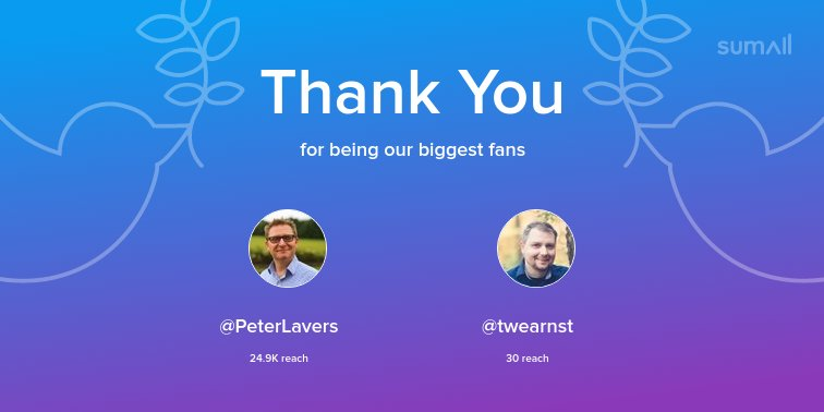 Our biggest fans this week: @PeterLavers, @twearnst. Thank you! via https://t.co/1OysoHZVk7 https://t.co/ml7gpFBvMp