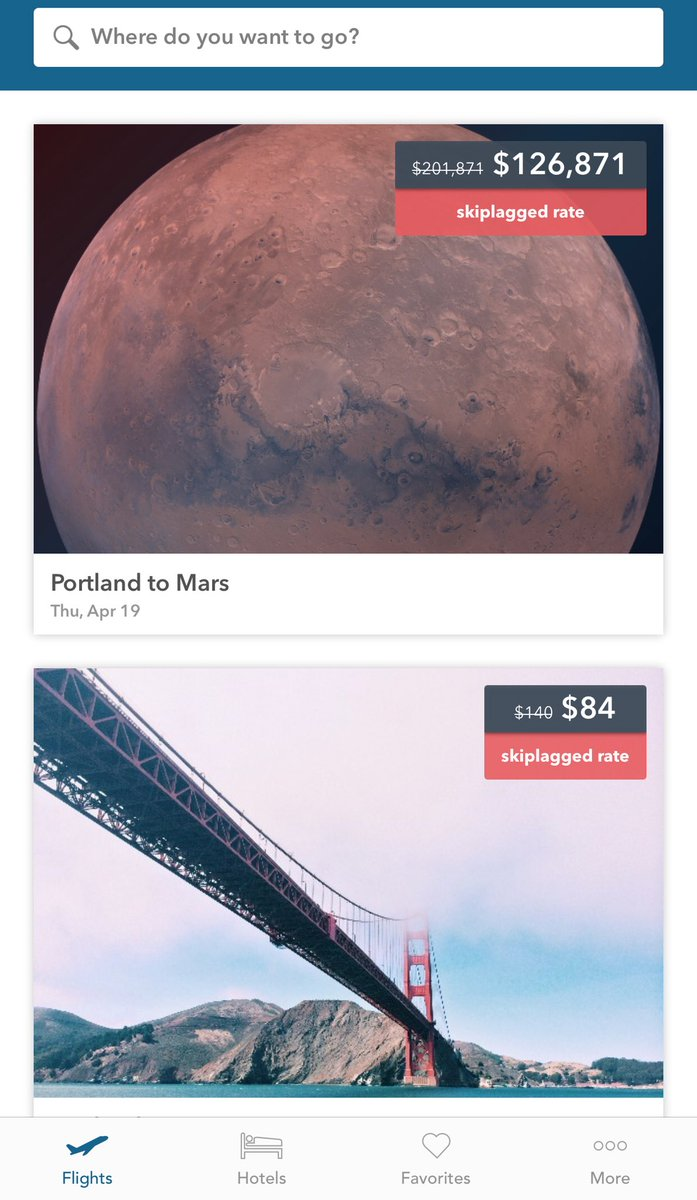d99e32114c0 Skiplagged is selling flights to Mars today.   AprilFoolsDaypic.twitter.com kg3uVaIylW