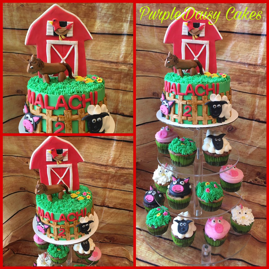 Fabulous Alicia On Twitter Farm Themed Birthday Cake And Cupcakes Marble Funny Birthday Cards Online Sheoxdamsfinfo