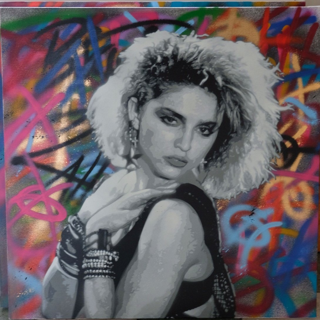 Lah Stencil Art On Twitter Madonna Spray Paint On Canvas