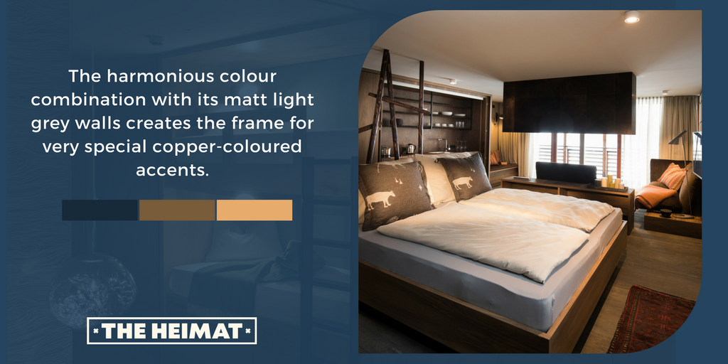 The harmonious colour combination with its matt light grey walls creates the frame for very special copper-coloured accents. #theheimat #apartments   http:// theheimat.at/en/  &nbsp;  <br>http://pic.twitter.com/hbIFqzjKse