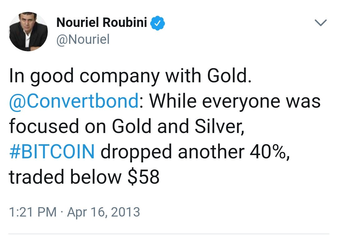 Correction: Roubini hasn't been mocking Bitcoin since it was $600. He's been mocking it since it was $58. Imagine how short your attention span must be, & how strong your self-delusion, to gloat with vindication during every dip from $58 to $7,000.