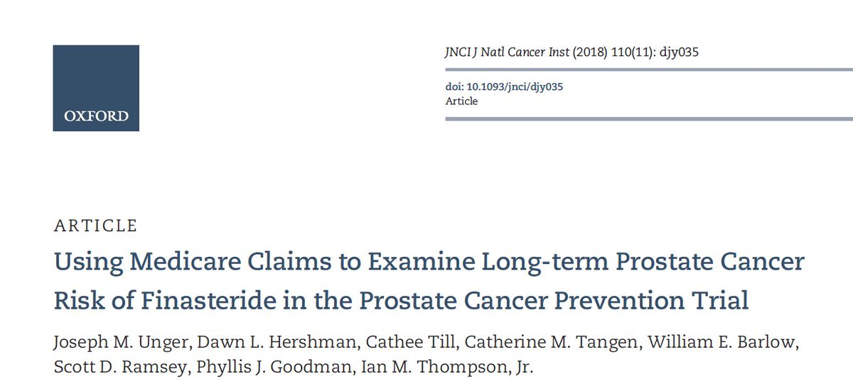 Eric Klein On Twitter Finasteride In The News Again 7 Years Of Use Confers Long Term Risk Reduction For Prostate Cancer Https T Co Fwrqlt0frg Pcpt Preventprostatecancer Https T Co Ctkh7g4e1i