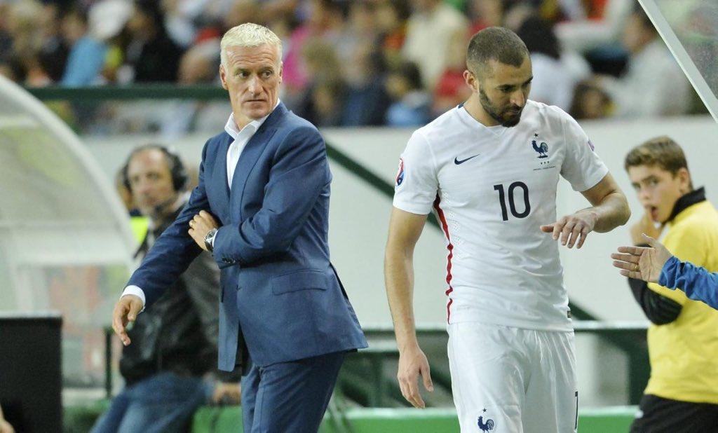 🚨 Didier Deschamps : «Nous avons eu une discussion d'hommes à hommes avec Karim, on verra de quoi l'avenir sera fait mais il n'est pas impossible de le voir évoluer sous le maillot bleu cet été.»
