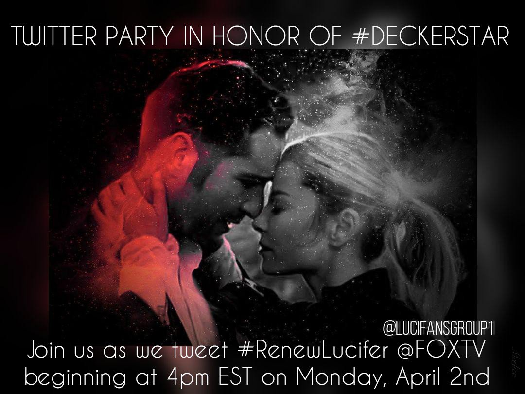 Lets honor #Deckerstar tomorrow during our #RenewLucifer Twitter Party. Party starts at 4pm EST. @LUCIFERwriters @dbwofficial @kaogirl @Alexkatsnelson @chris_rafferty @kristieannereed #RT