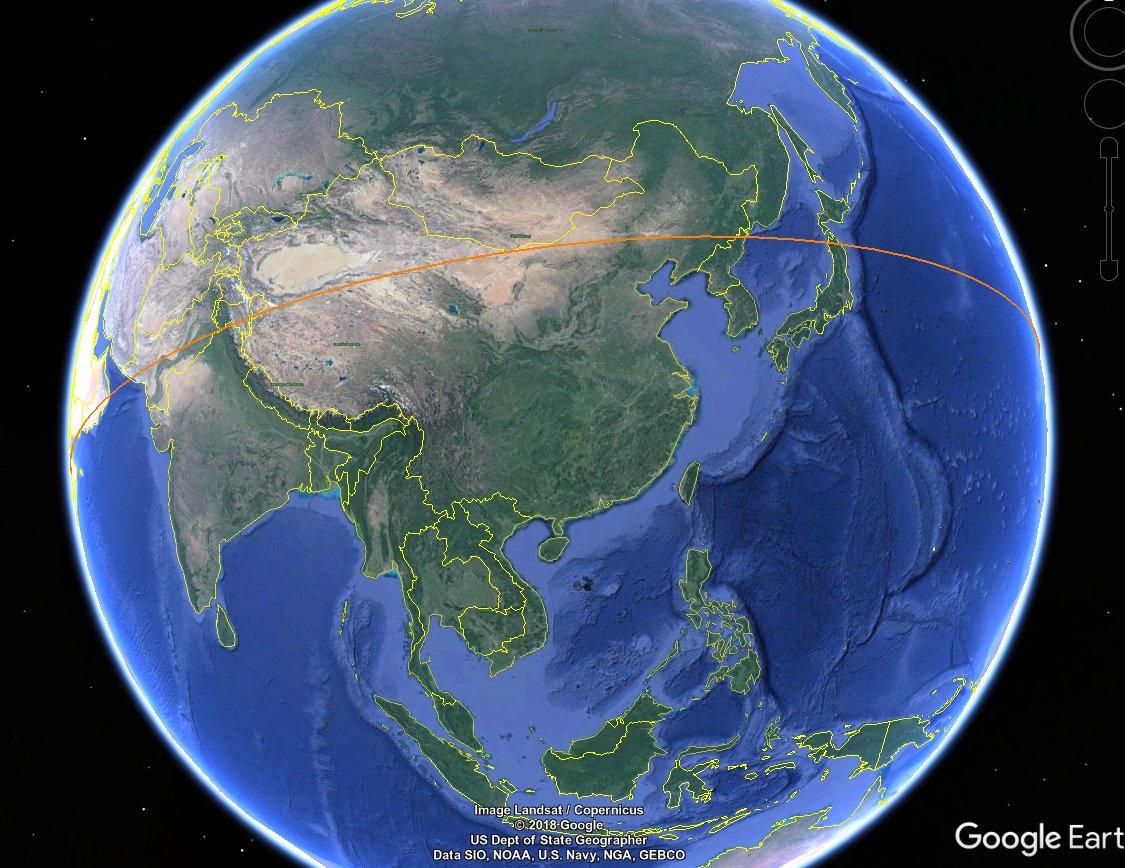Tiangong-1 passing 140 km over China. 40 min till start of formal reentry window. https://t.co/34rwNZQ5u3