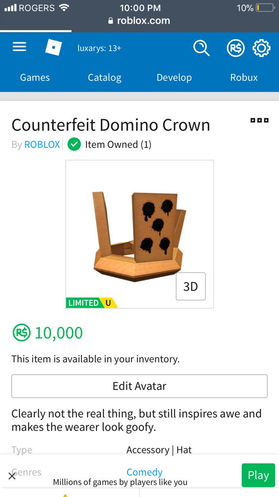 Roblox Notifier On Twitter New Limited Counterfeit Domino Crown