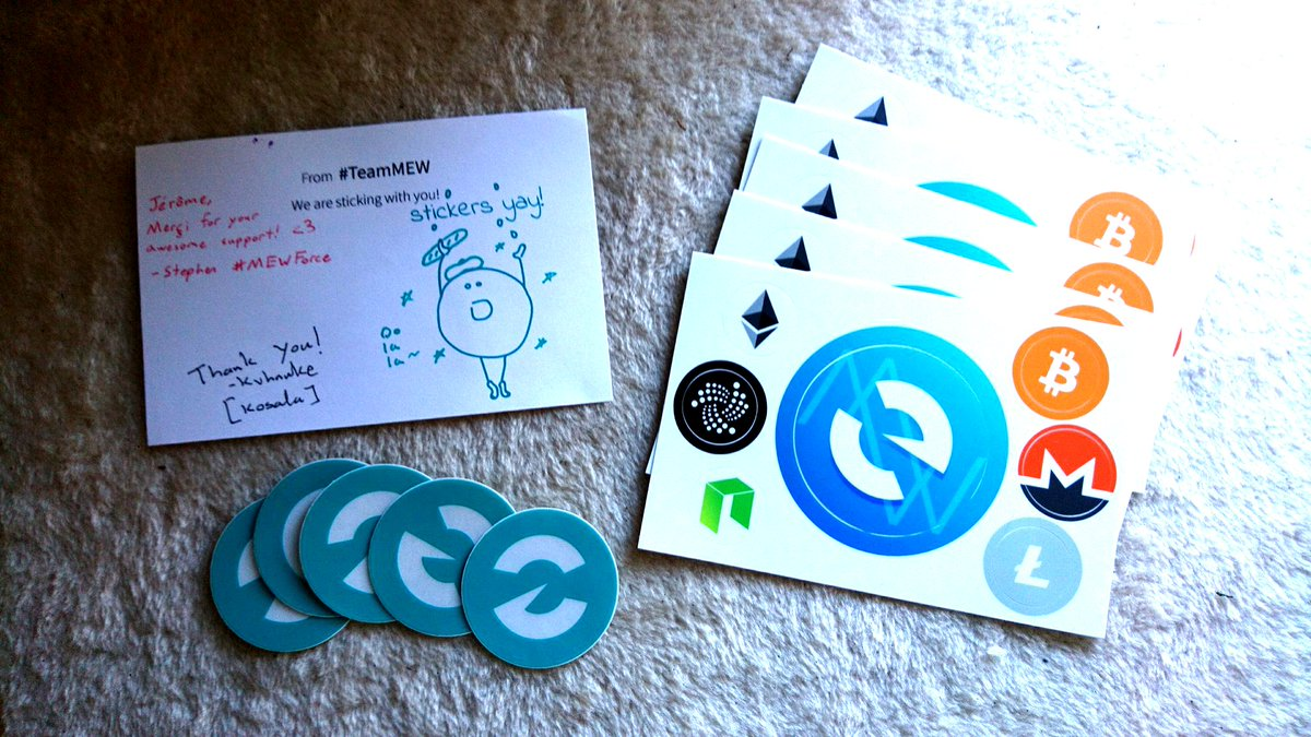 Thanks to @kvhnuke_ and the @myetherwallet best crypto team for these stickers ! Will spread the word !