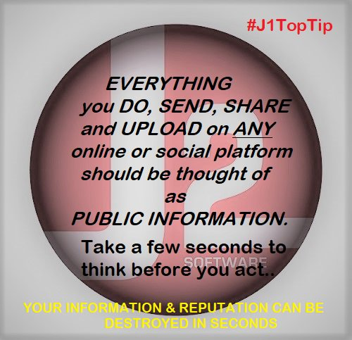Always work with the idea that everything you do online is #compromised. Every single thing done #online may become #public information. Think before you upload and overshare. #reputation is destroyed &amp; #data is leaked online in seconds. #j1toptip #j2infosec <br>http://pic.twitter.com/ktPB3J5Kcp