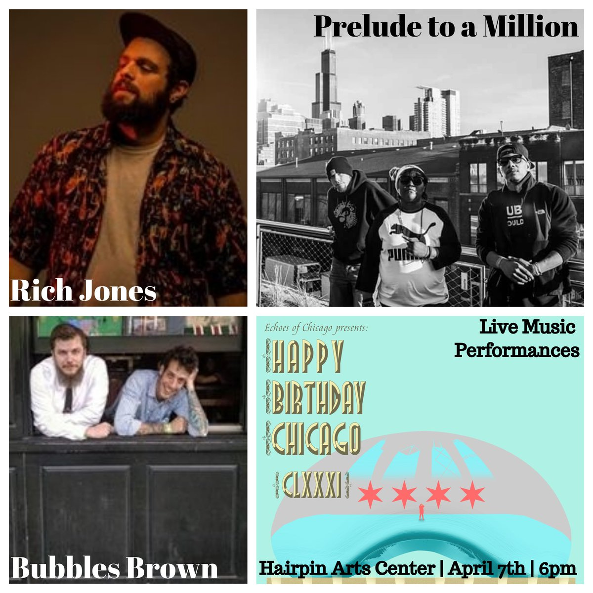 This Saturday! See Rich Jones, Prelude to a Million, and Bubbles Brown at Hairpin Arts Center at 2810 N Milwaukee bit.ly/HBChicago18 ... #ChicagoEvents #Chicago #ChicagoMusic