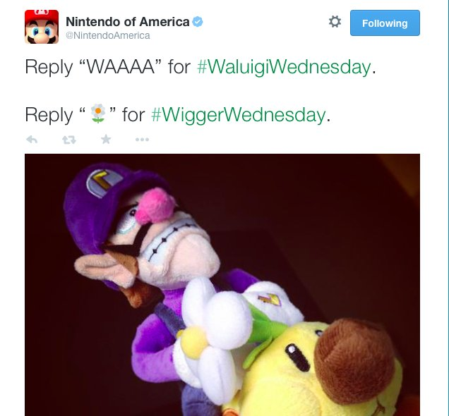 Three years ago, Nintendo of America introduced us to #WiggerWednesday