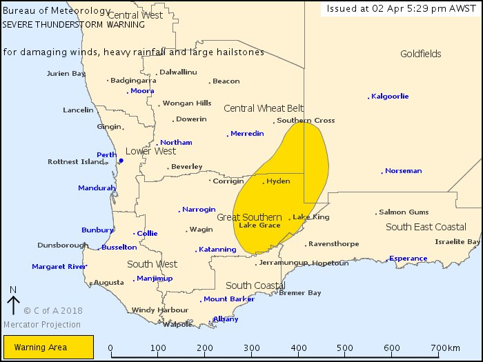 ⛈️The warning area for severe thunderstorms in #WA has been updated.   It now covers #Hyden, #LakeGrace and #LakeKing. http://bit.ly/2y57L0N