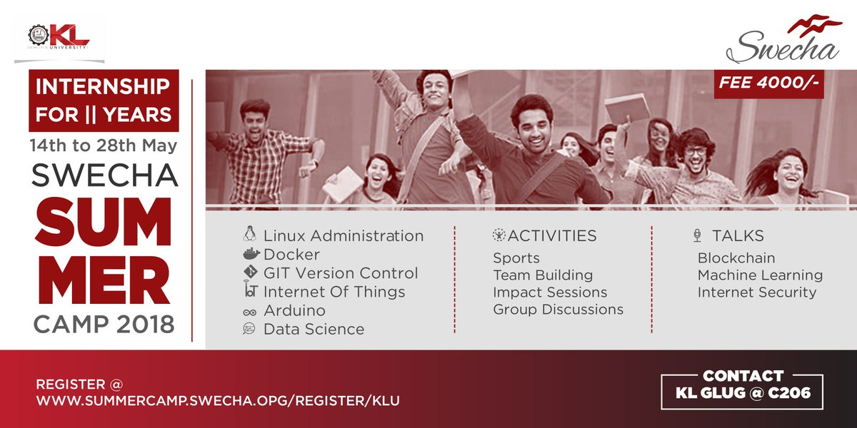 Kluniversity on twitter swecha summer camp 2018 a great intensive training camp on technologies sports and talks right time for ii years to utilize this opportunity to undergo internship in semester break publicscrutiny Images