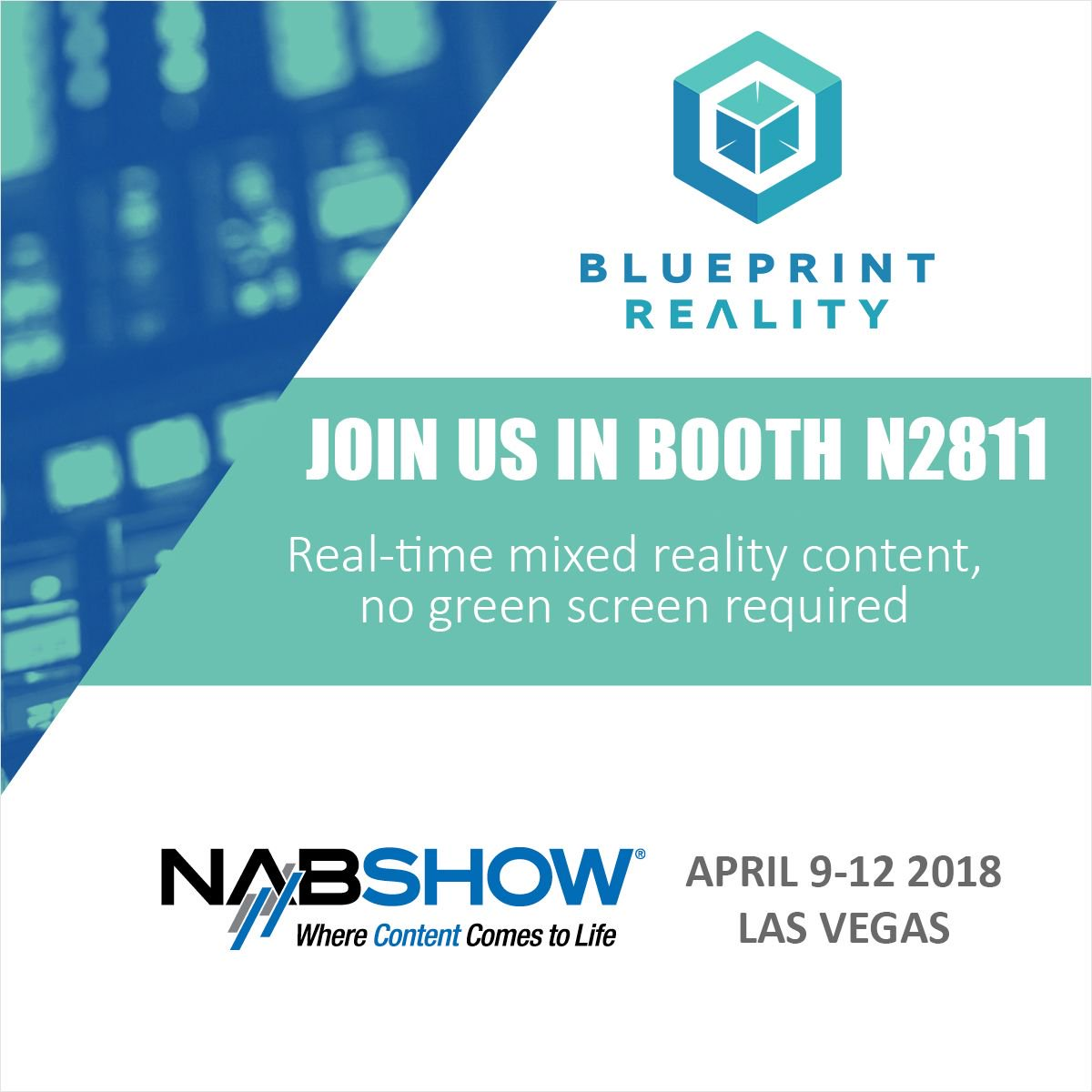"""We'll be at #NABShow next week showing #MixCast - the best way to show real people in #VR. Stop by booth N2811 to check out our """"no green screen"""" background removal system. #MR #MixedReality"""