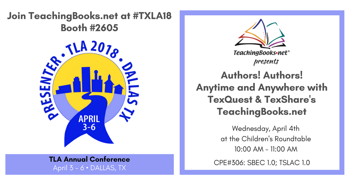 test Twitter Media - Do you enjoy learning from authors? Would you like to have authors in your libraries, classrooms, and book clubs?  Join our session at the #TXLA18 Children's Round Table to learn how easy it is via https://t.co/uKTbNNhmBy, available to TexShare/TexQuest subscribers. https://t.co/1aIZn3Fok8