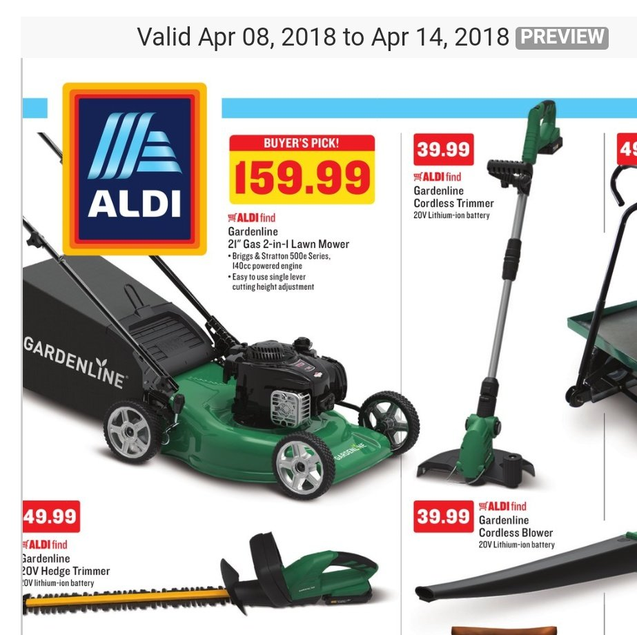 """wedge live!™ on twitter: """"next week at aldi: lawn mowers.… """""""