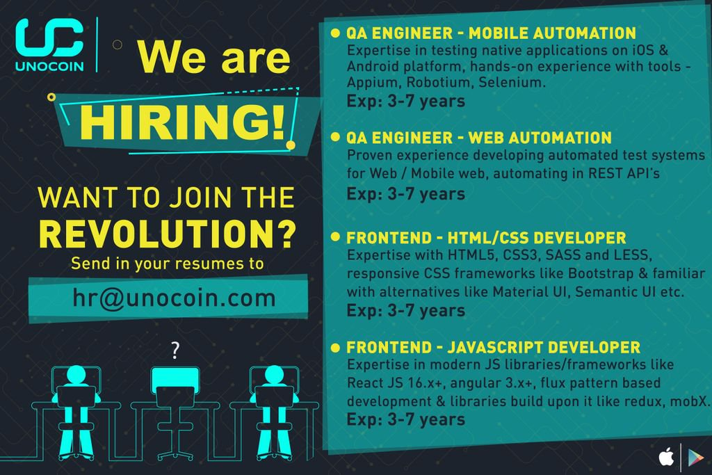 Unocoin On Twitter Unocoin Is Hiring For The Qa Engineer Mobile