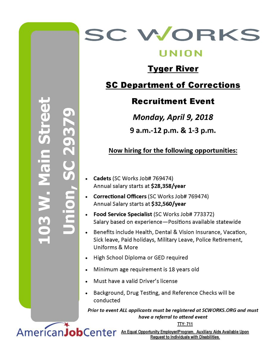 @SCDCNews In Tyger River Is #hiring Cadets, Correctional Officers U0026 Food  Service Specialists Next Week. #Hiring Event Monday, 4/9, 9 A.m. 12 P.m. U0026  1 3 P.m. ...