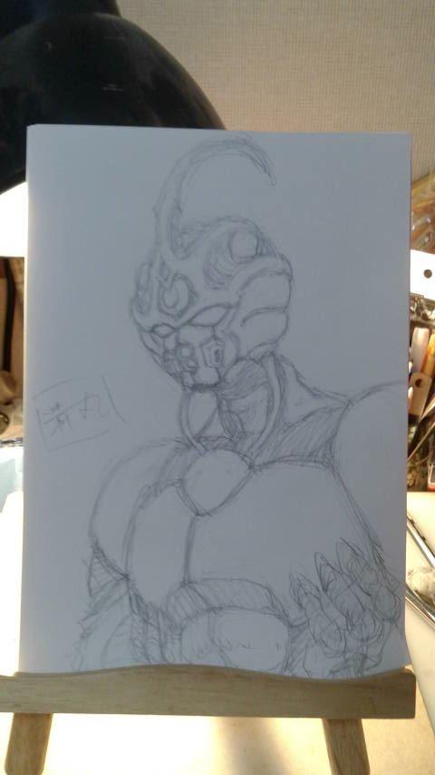 資料を一切見ないで記憶だけを頼りにガイバーIを描いてみました。所要時間30分くらい。
