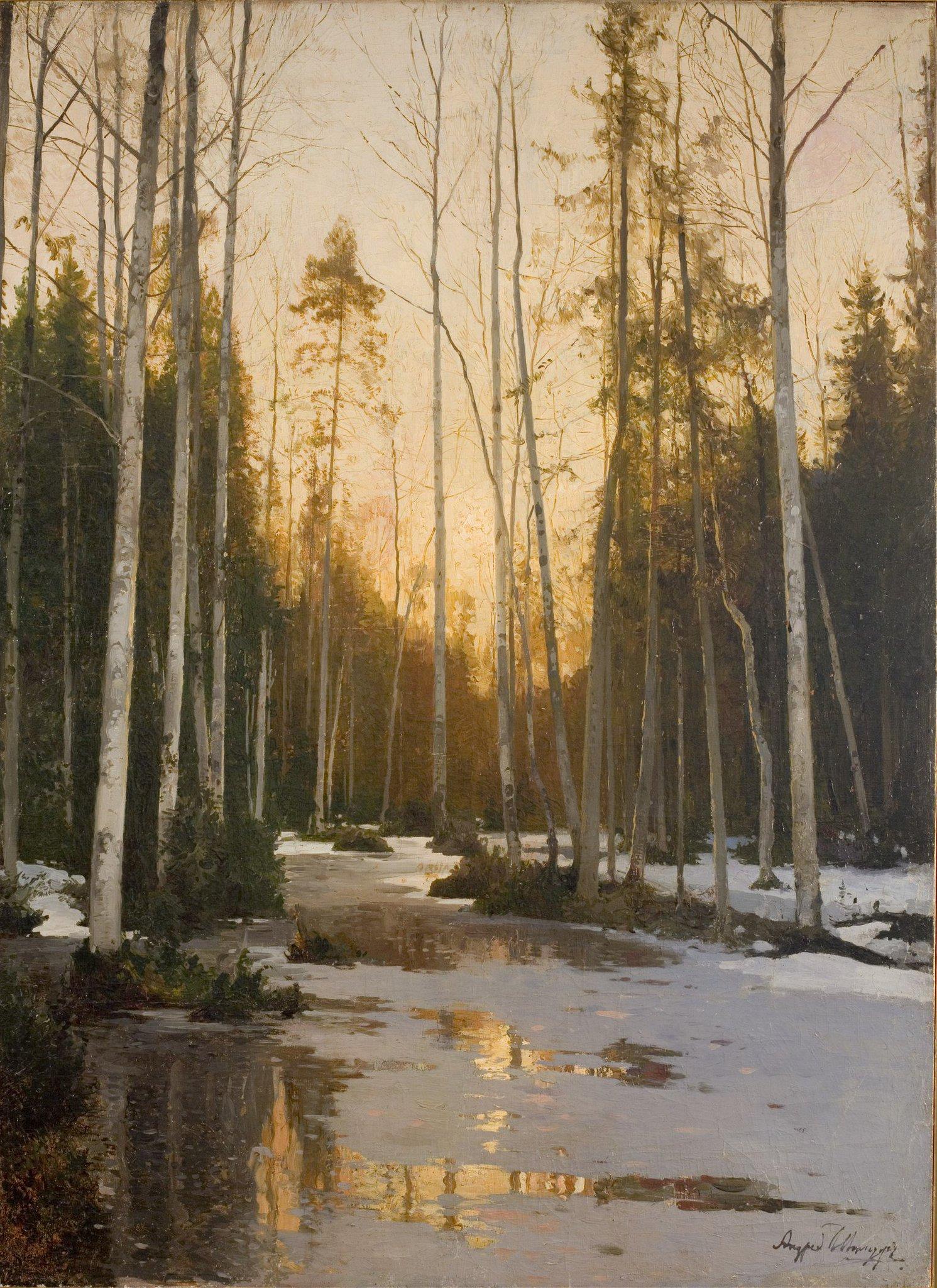 что картина ручей в лесу шильдера как
