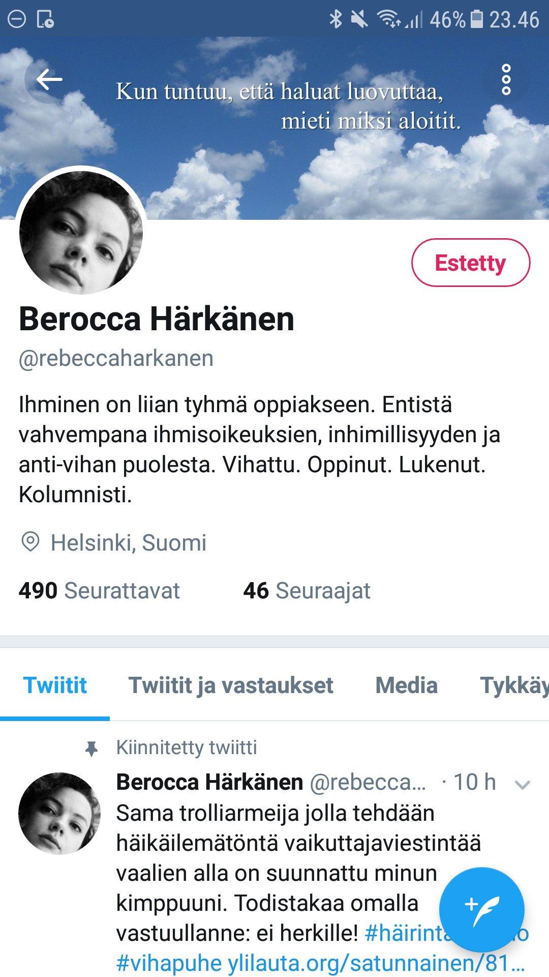 Rebekka Härkönen Twitter