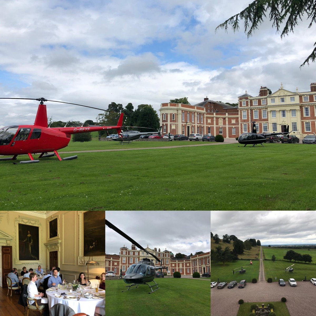 Thanks to @hawkstone_hall for hosting us yesterday! As always, a highly rated and excellent place to visit!  . #b206 #r44 #nottingham #hawkstone #flyout #lunch #privatesite #aviation #instagramaviation #charter #helicopter