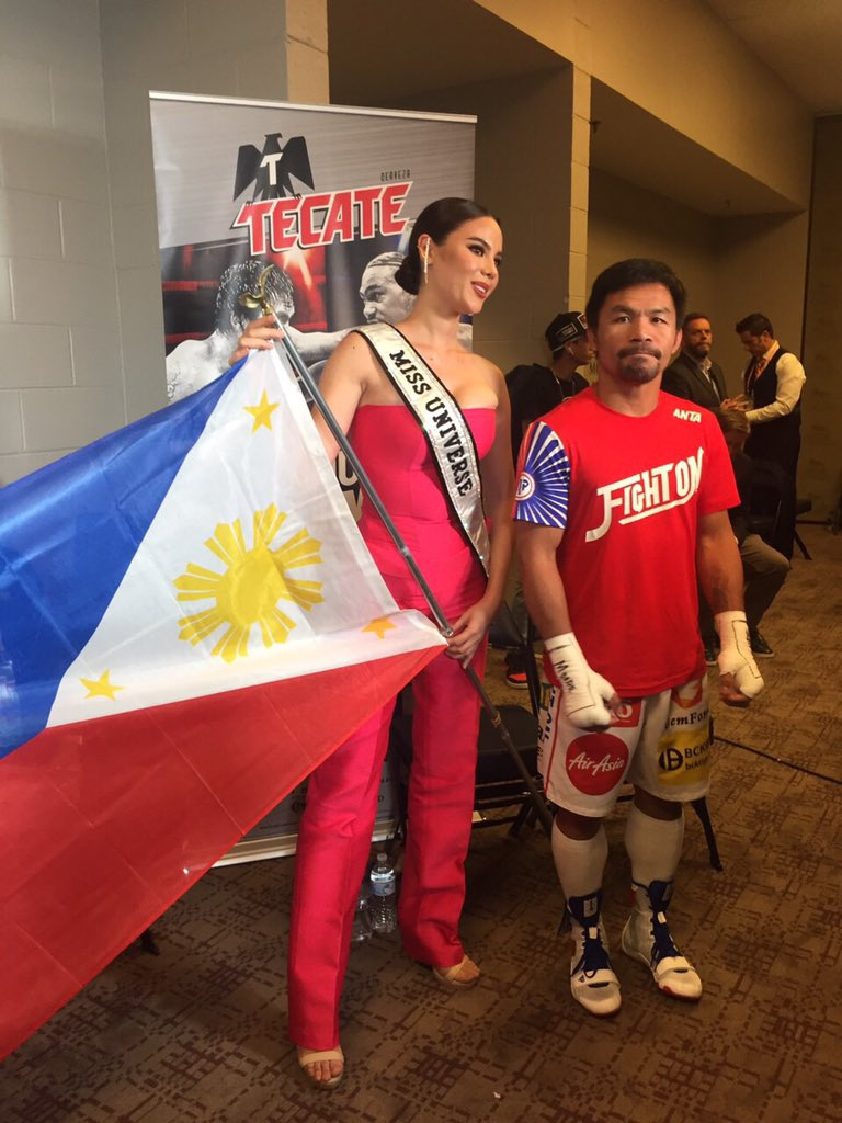 Ready for a history ring walk! The reigning WBC Welterweight World Champion @MannyPacquiao and @MissUniverse @catrionaelisa all set to enter the ring!  #PacquiaoThurman   @ABSCBNNews @abscbnsports @ANCALERTS @DZMMTeleRadyo<br>http://pic.twitter.com/Z9O9VQKAob