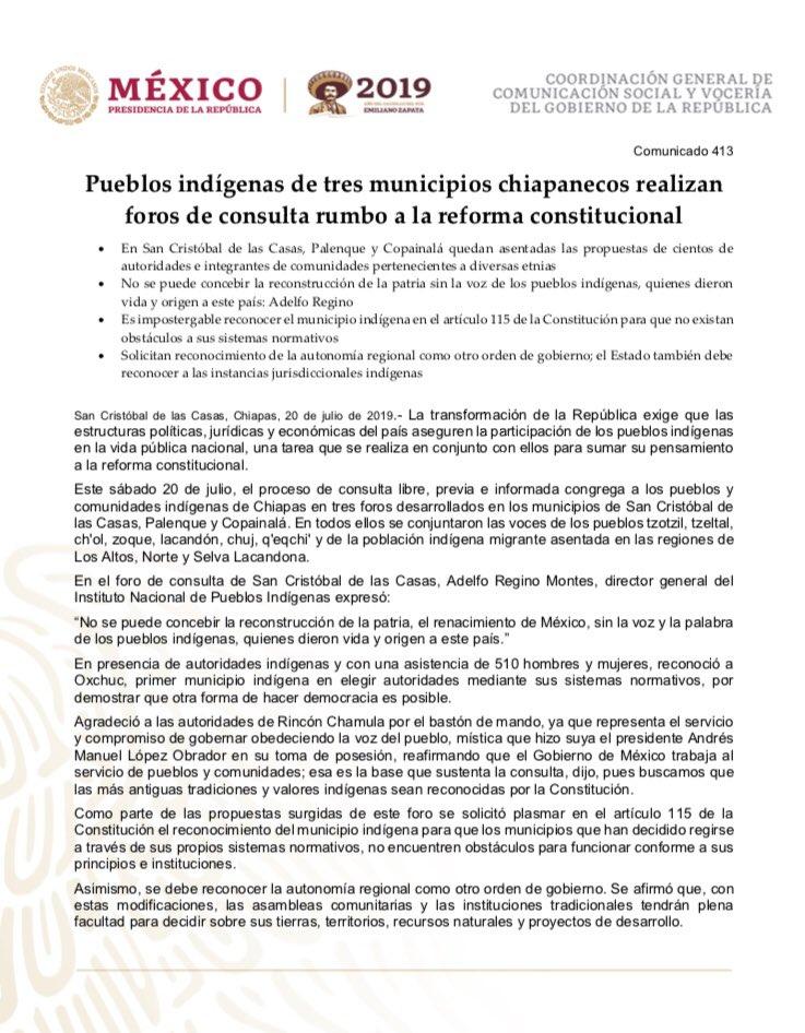 #COMUNICADO | 📰🗞  Pueblos indígenas de tres municipios chiapanecos realizan foros de consulta rumbo a la reforma constitucional  @DEELAYUUK @GobiernoMX @ComGobiernoMx