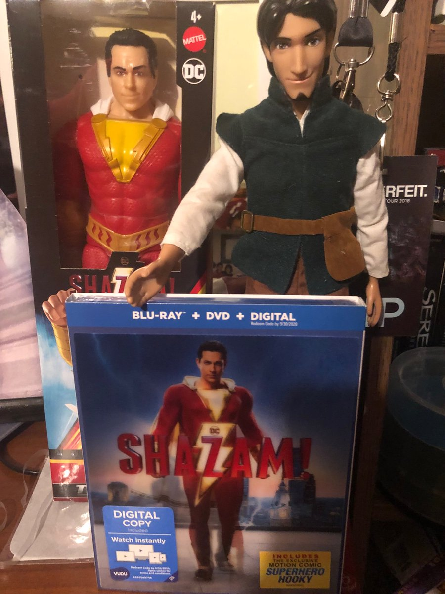 Kelli On Twitter Zacharylevi Looks Like Flynn Rider And Shazam Are Guarding My Copy Of Shazam I Bought The Day It Came Out Not Sure They Ll Let Me Watch It Lol Https T Co Efzqxvofls