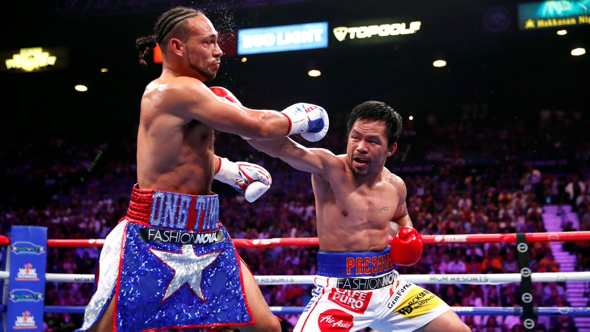 Forty-year-old @MannyPacquiao handed Keith Thurman his first loss to become WBA welterweight champion.