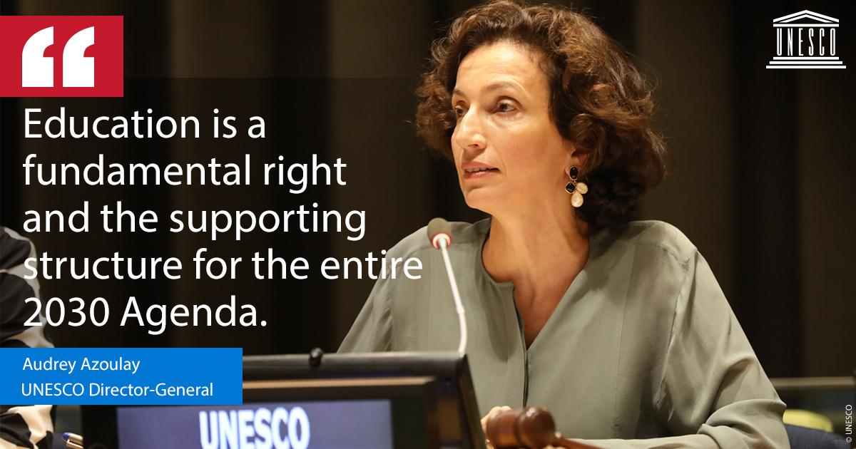 Education is everyone's responsibility!   It's on all of us to join forces and step up efforts to invest more in quality #education. 📚✏️   👉 https://on.unesco.org/2xRrgrL @AAzoulay #HLPF #SDG4 #GlobalGoals