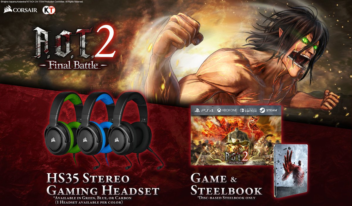 Koei Tecmo and @CORSAIR bring you an awesome giveaway this #freebiefriday! Win a HS35 Headset, AOT2: Final Battle, and  original AOT2 Steelbook! #KTFamily  #AOT2FinalBattle  Enter here: http://bit.ly/AOT2CORSAIR  RT this post for an extra game winner on Twitter!