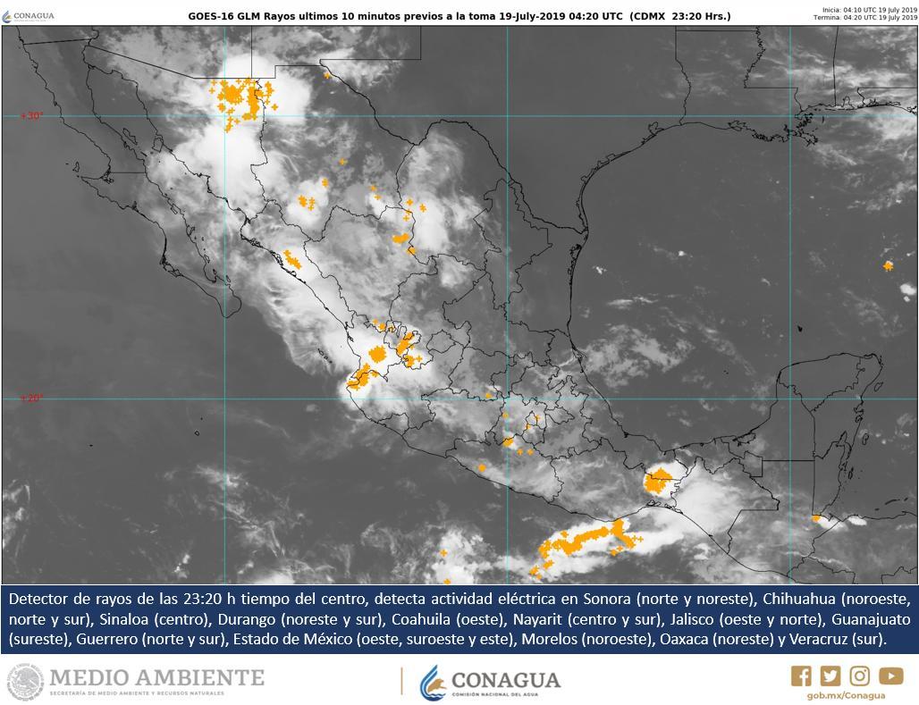 Detector de #Rayos detecta #ActividadEléctrica en:  #Sonora #Chihuahua #Sinaloa #Durango #Coahuila #Nayarit #Jalisco #Guanajuato #Guerrero #EdoMéx #Morelos #Oaxaca #Veracruz  Vía: @conagua_clima.