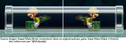 In Super Mario Maker 2, the unlockable Super Hammer allows the characters to produce crates. If Luigi enters a Clear Pipe while holding his crate facing left, it will display correctly. However, facing right, one of the L emblems - but not the entire model - will be mirrored.