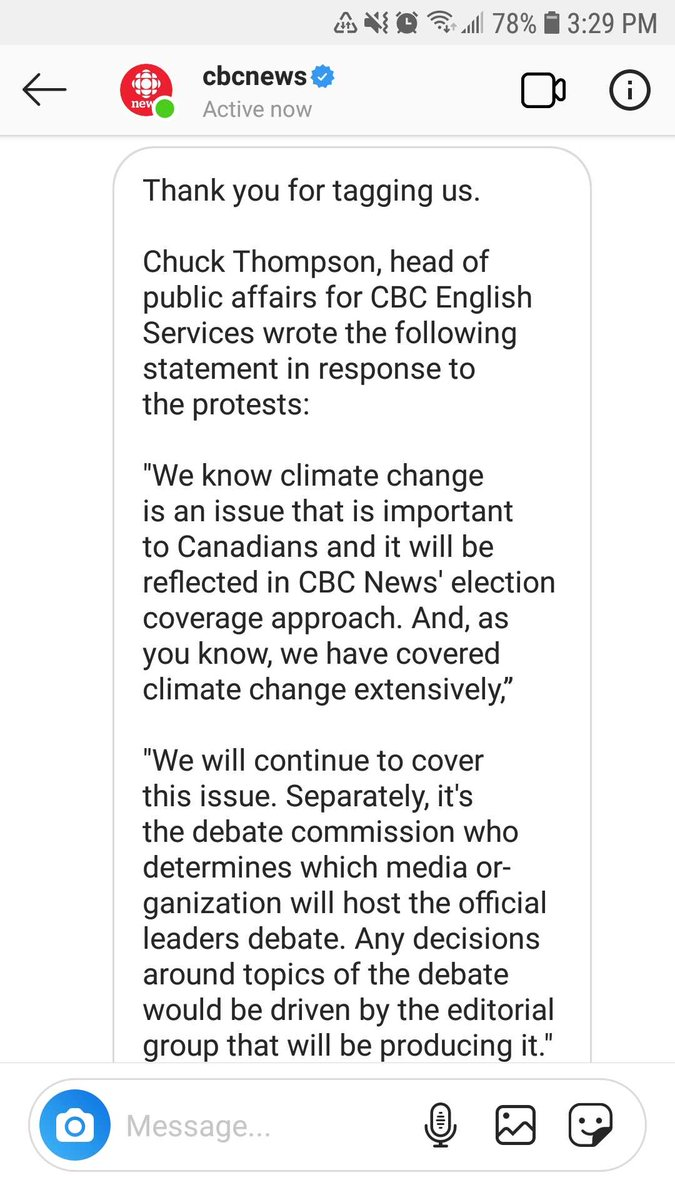 Here's how the @CBC responded when we asked them to #changethedebate and to host a debate on climate change and Green New Deal in #elxn43.  A few thoughts:<br>http://pic.twitter.com/ZS9KohCfBn