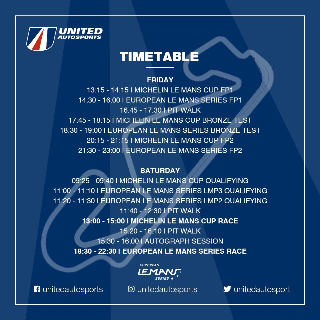 ⏰ a slightly different looking timetable for this weekend's @EuropeanLMS race weekend as we have both the ELMS and Le Mans Cup races on Saturday, with the 4H of Barcelona running into the night. Here's all the times you'll need to keep track of us #BeUnited