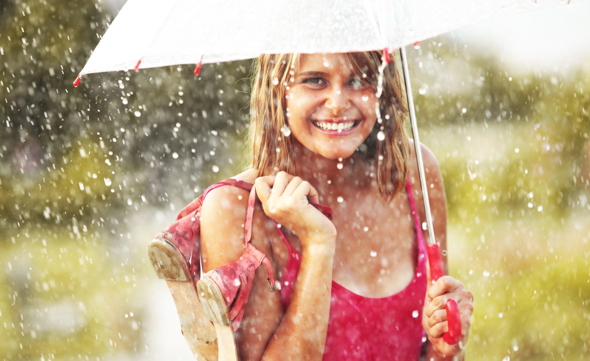 Открытка днем, картинки женщина под дождем