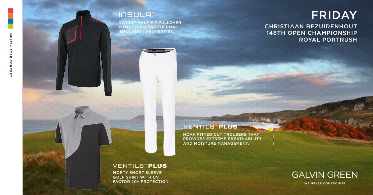 Good luck to @BezChristiaan teeing off at 11.58am this morning #TheOpen  He'll be wearing the Morty VENTIL8 shirt, the Dwight INSULA and the Noah VENTIL8 pant. ⭐️To win Christiaan's outfit for all four days like & retweet our pinned tweet and be sure to follow @galvingreen ⭐️