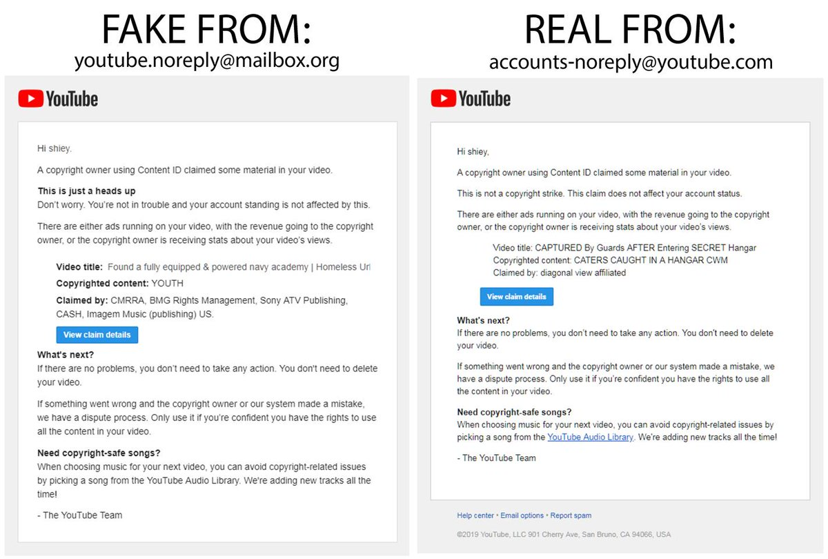 Shiey On Twitter Just Got An Interesting Copyright Claim Sent To Me From Youtube Almost Clicked View Claim Until I Realized Youtube Doesn T Send Notifications To My Public Email And Definitely Doesn T
