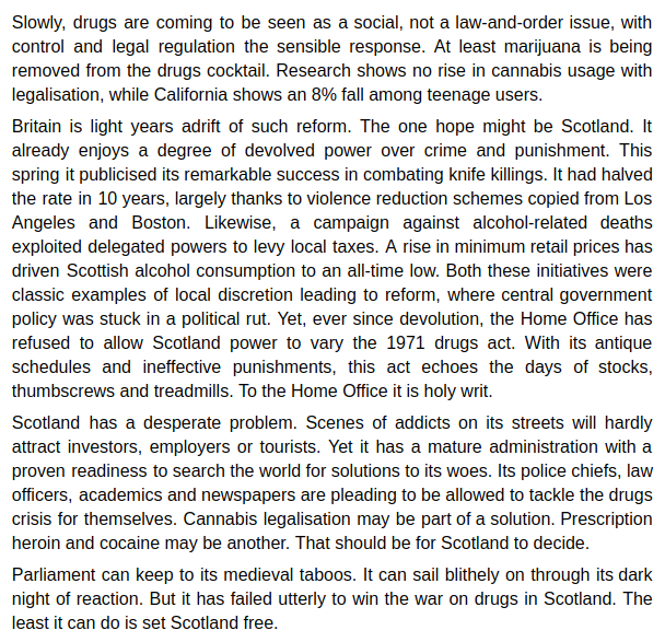 """""""Scotland has a drugs problem – and it's called Westminster"""" Excellent piece from Simon Jenkins in today's @guardian. https://www.theguardian.com/commentisfree/2019/jul/19/scotland-drugs-problem-westminster-policy…"""